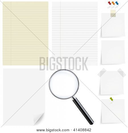 Paper Big Set With Magnifying, Isolated On White Background, With Gradient Mesh, Vector Illustration