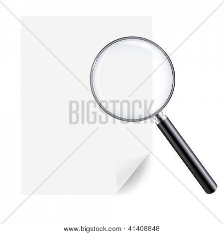 Magnifying Glass And Sheet Of Paper, Isolated On White Background, With Gradient Mesh, Vector Illustration