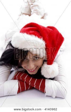 Smiling Beautiful Woman Wearing Christmas Hat