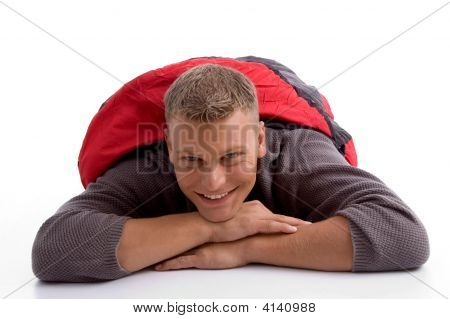 Man In Sleeping Bag Lying