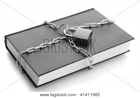 black book with chain, isolated on white
