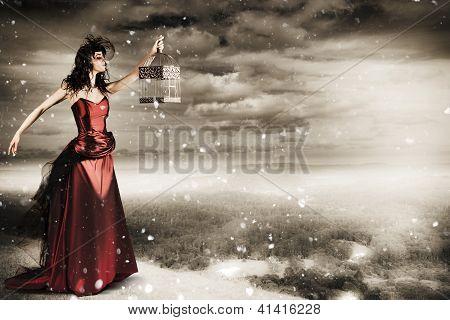 Fine Art Photo Of A Beautiful Winter Fashion Woman