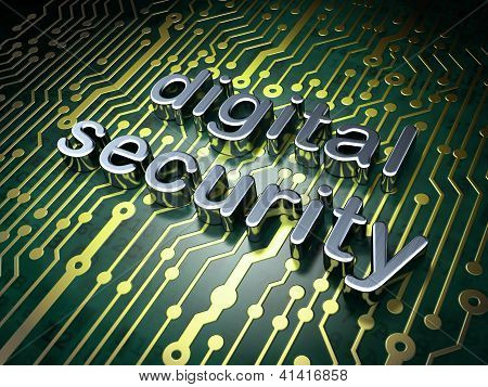 Safety concept: circuit board with word Digital Security