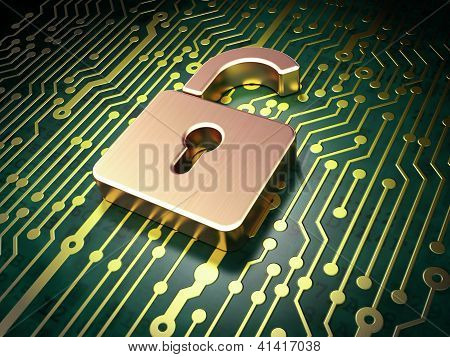 Security concept: circuit board with Opened Padlock icon