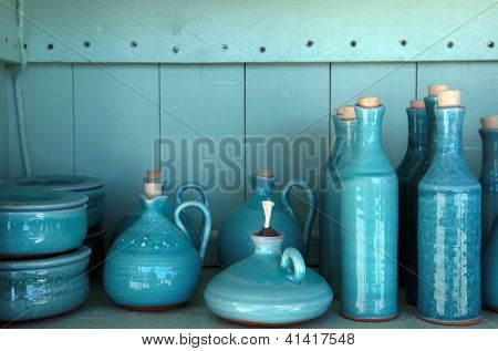 Turquoise Glazed Ceramic Pitchers, Crete , Greece