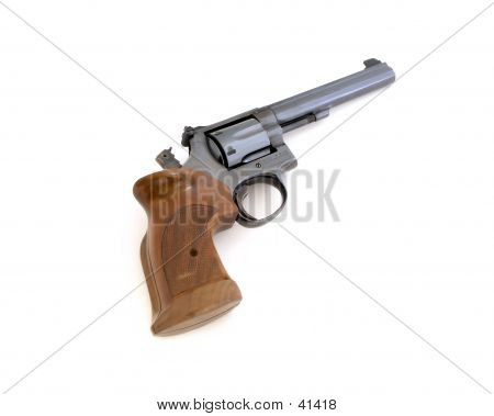 Pistol With Wood Grips