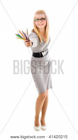 Pretty Teacher With Pencils