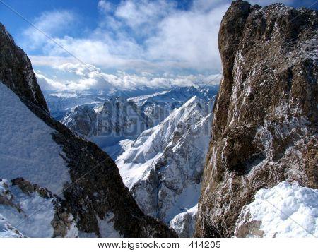 Snowcapped Rocks- Alps- Dolomites.