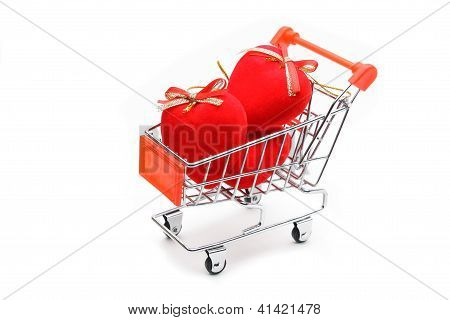 Hearts In Shopping Cart Isolated