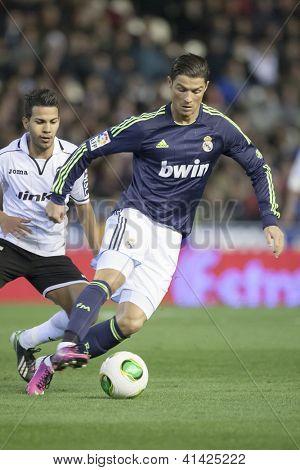 VALENCIA - JANUARY 23: Ronaldo during Spanish King�´s Cup match between Valencia CF and Real Madrid, on January 23, 2013, in Mestalla Stadium, Valencia, Spain