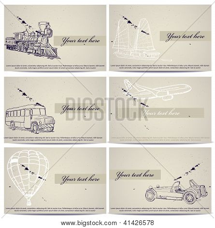 Set of vintage transport cards.