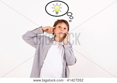 Kid With Mobile Phone And Idea