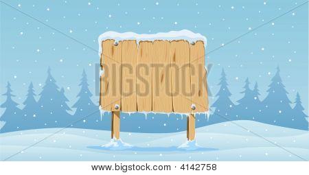 Wooden Blank Board In Snow