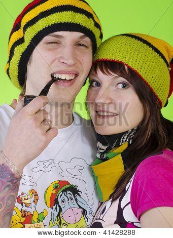Casal amoroso rasta-Caps