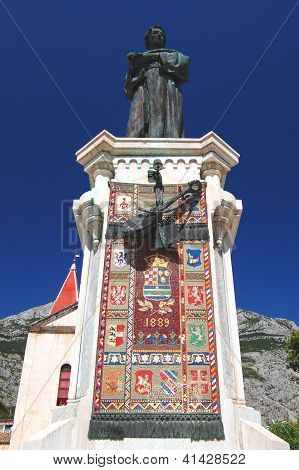 monument of A.K.Mijosicia in makarska, croatia