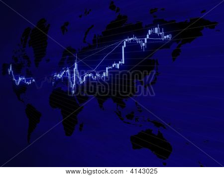 World Map Foreign Exchange Market Chart Background