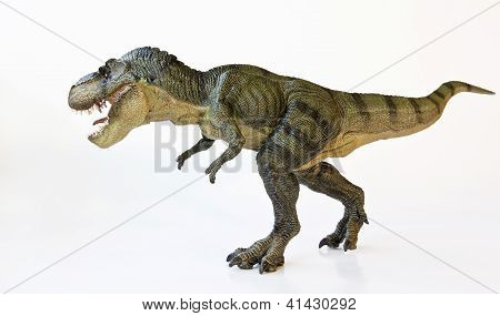 A Tyrannosaurus Hunts On A White Background