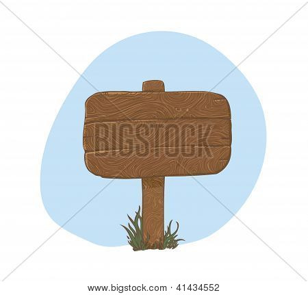 Wooden sign in snow - vector illustration
