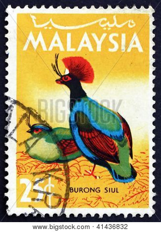 Postage Stamp Malaysia 1965 Crested Wood Partridge, Bird