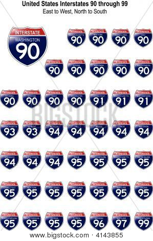 United States Interstates 90 Through 99