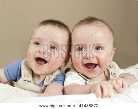 Smiling Happy Twin Boys