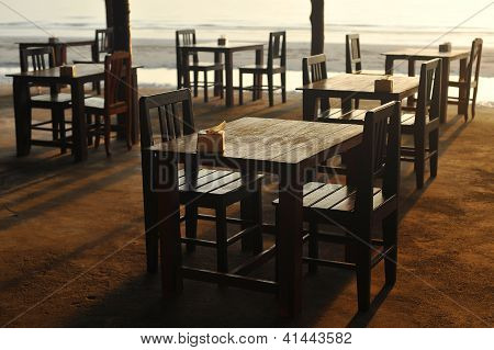 Tables at the beach