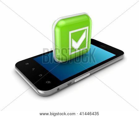 Mobile phone and icon with symbol of tick mark.