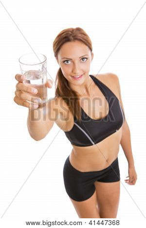 Fitness Woman Holding A Glass Of Water