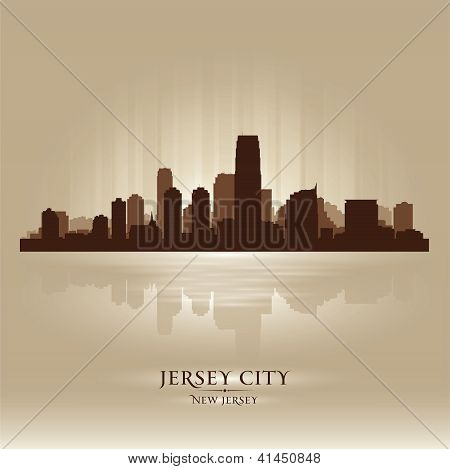 Jersey City, New Jersey Skyline City Silhouette