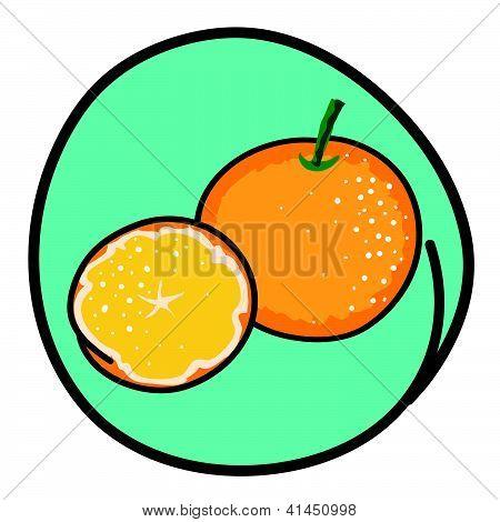 Two Fresh Oranges On Round Green Background