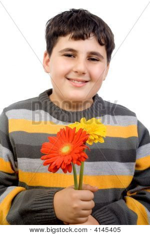 Boy Holding Gerbera