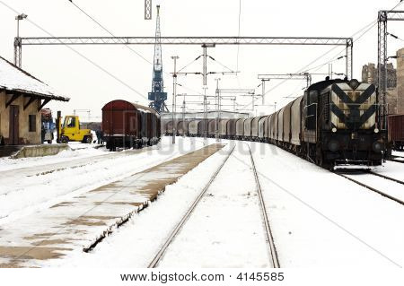 Trains In Freight Yard Winter