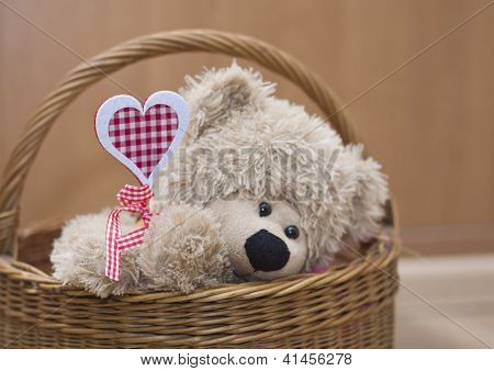 Teddy Bear Holding  Heart In  Basket Valenyine's Day