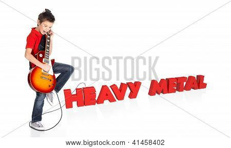 Boy Plays On Electric Guitar With 3D Text