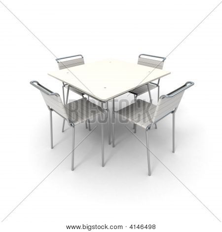 Table And Chairs In White