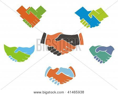 Business handshake symbols and icons