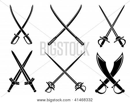 Swords, sabres and longswords set
