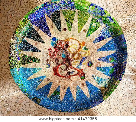 Ceramic Mosaic Design, Guell Park, Barcelona, Catalonia, Spain