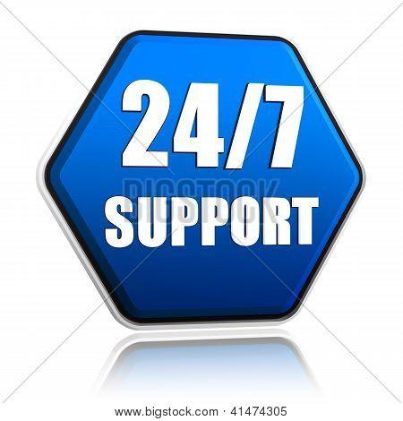24 7 Support Hexagon Button