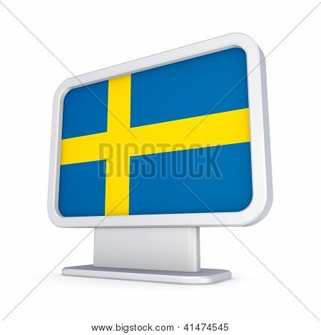 Swedish flag in a lightbox.