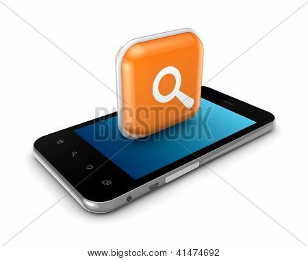 Mobile phone with icon of loupe.