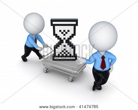 Sand glass cursor on shopping trolley.