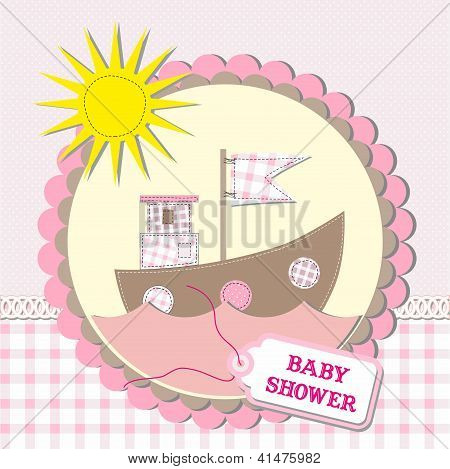 Baby Shower Scrapbooking Card Design. Vector Illustration