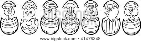 Chickens In Easter Eggs Cartoon For Coloring