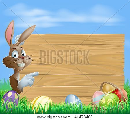 Easter Bunny And Eggs With Wooden Sign