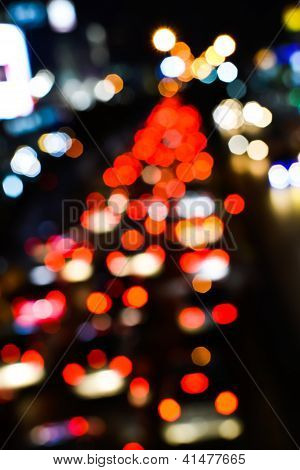 Blur Trffic And Car Lights Bokeh In Thailand