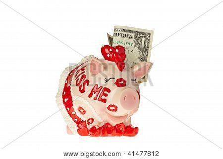 Amusing Piggy Bank With The One-dollar Banknote And Words Kiss Me