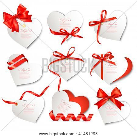 Set of beautiful gift cards with red gift bows and hearts. Valentine's day. Vector illustration.