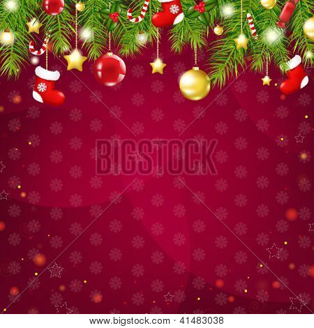 Christmas And Happy New Year Card, With Gradient Mesh, Vector Illustration