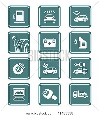 Car care, tuning, repair, and more service icons in teal